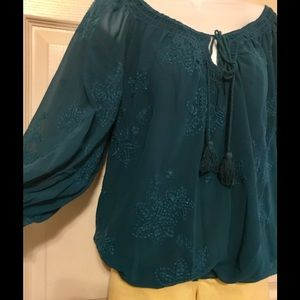 🔥Chelsea and Violet deep teal blouse❤️ Size Large